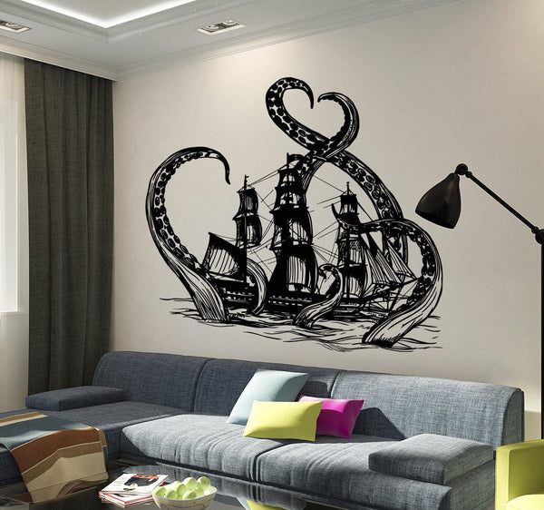 Vinyl Wall Decal Kraken Octopus Ship Nautical Ocean Teen