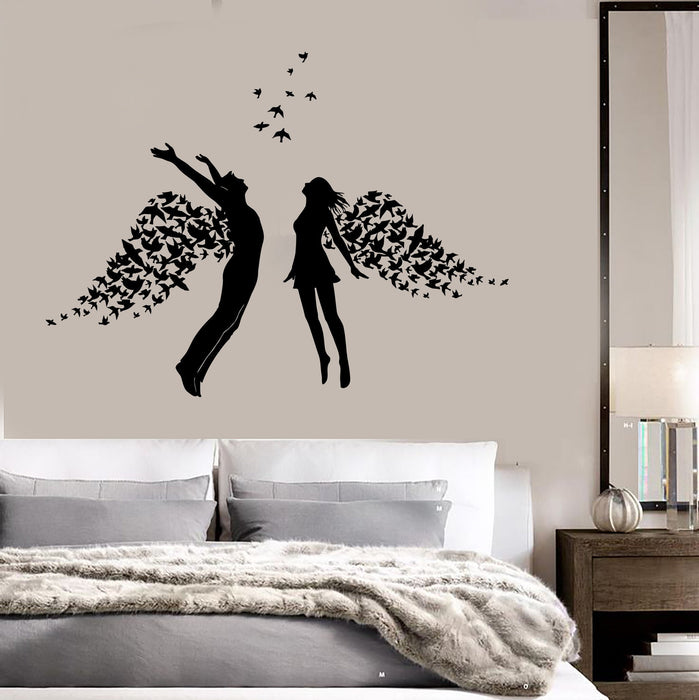 Vinyl Wall Decal Love Couple Romance Wings Bedroom Stickers Unique Gift  (ig3793)