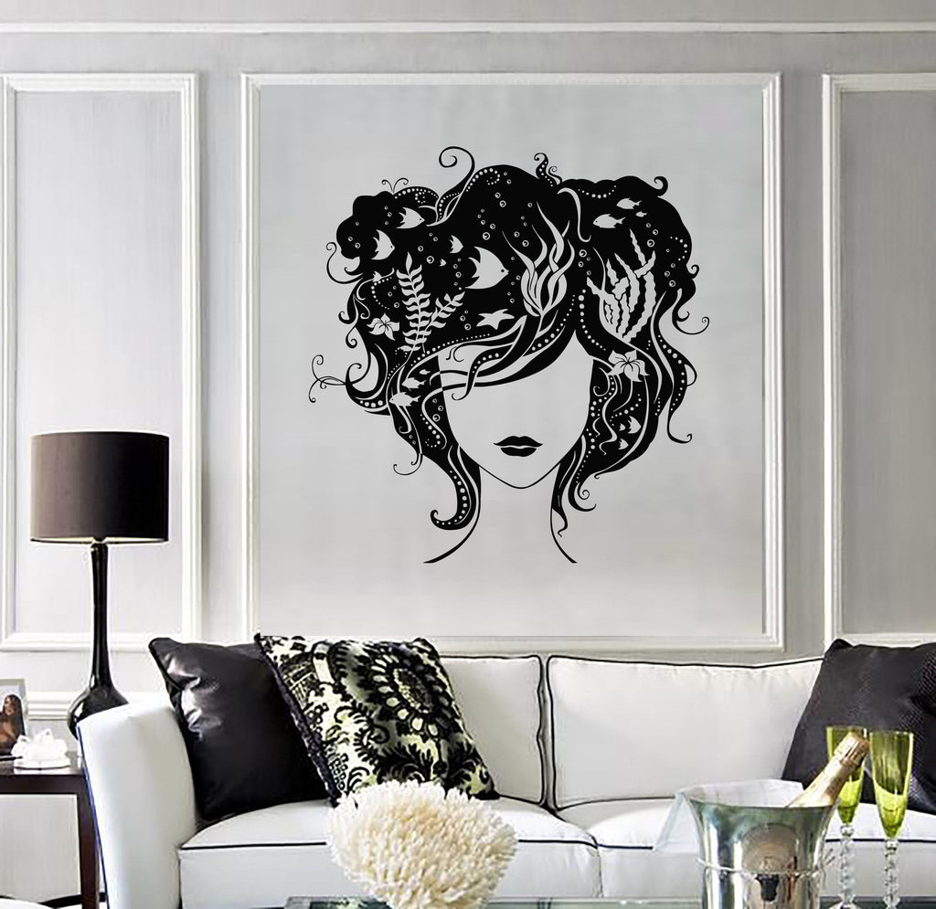 Vinyl Wall Decal Beautiful Woman Hairstyle Aquarium Sea Beauty Stickers Unique Gift (ig2802)