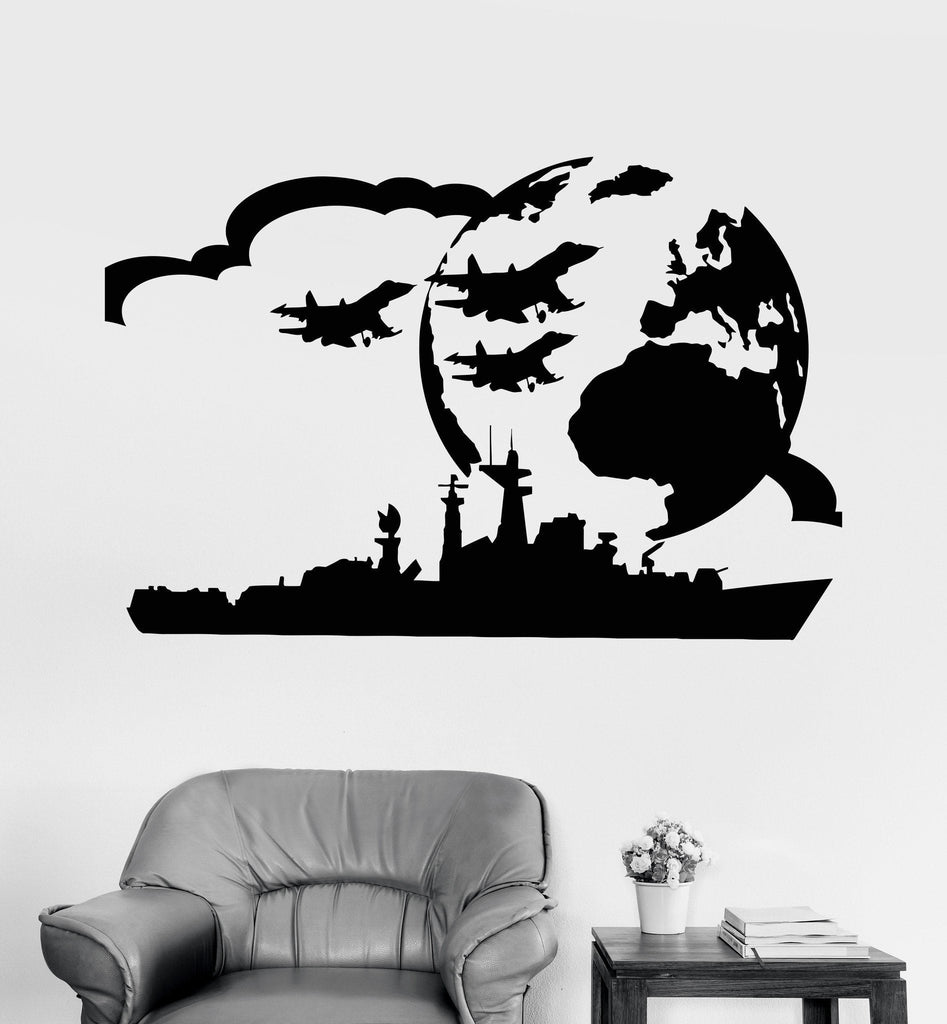 Vinyl Wall Decal Aircraft Carrier USS Military Art Boy Room War Stickers Unique Gift (ig3764)
