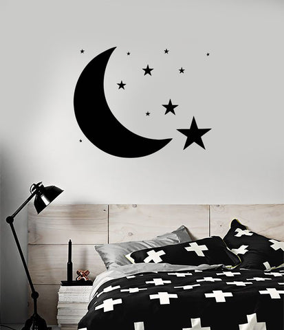 Vinyl Decal Design for Bedroom Moon Stars Sky Wall Sticker Unique Gift (ig1211)