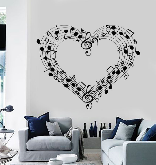 Wall Decal Sheet Music Love Coolest Room Decor Vinyl Stickers Art Mural Unique Gift (ig2583)