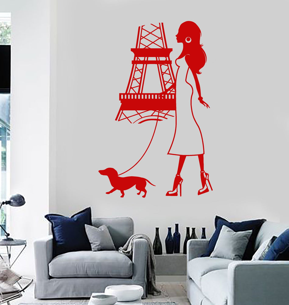 Vinyl Wall Decal Paris Girl Woman Eiffel Tower Dog French Stickers
