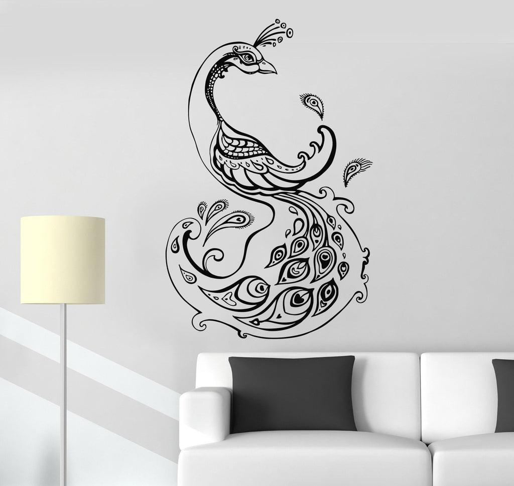Vinyl Wall Decal Beautiful Peacock Animal Bird Room Decoration Stickers Unique Gift (ig3074)