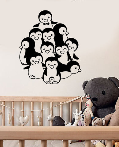 Vinyl Wall Decal Penguins Baby Room Animals Nursery Kids Art Stickers (ig2943)