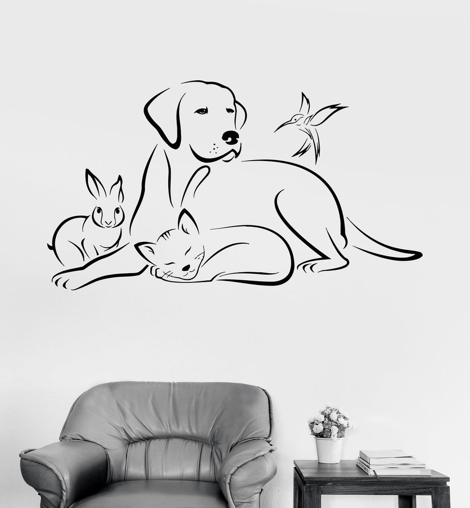 Vinyl Wall Decal Pets Animals Dog Bird Cat Veterinary Medicine Stickers Unique Gift (ig3380)