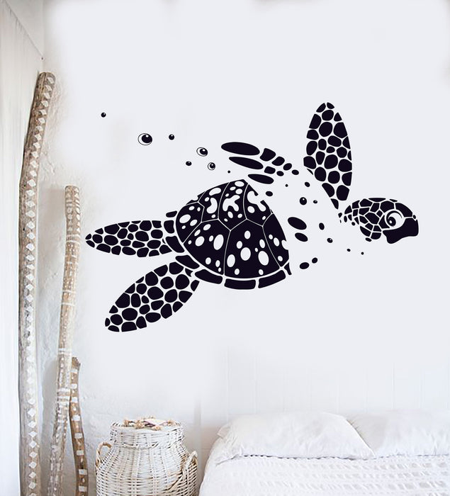 Vinyl Wall Decal Sea Turtle Animal Ocean Marine Kids Room Decor Stickers Unique Gift (121ig)