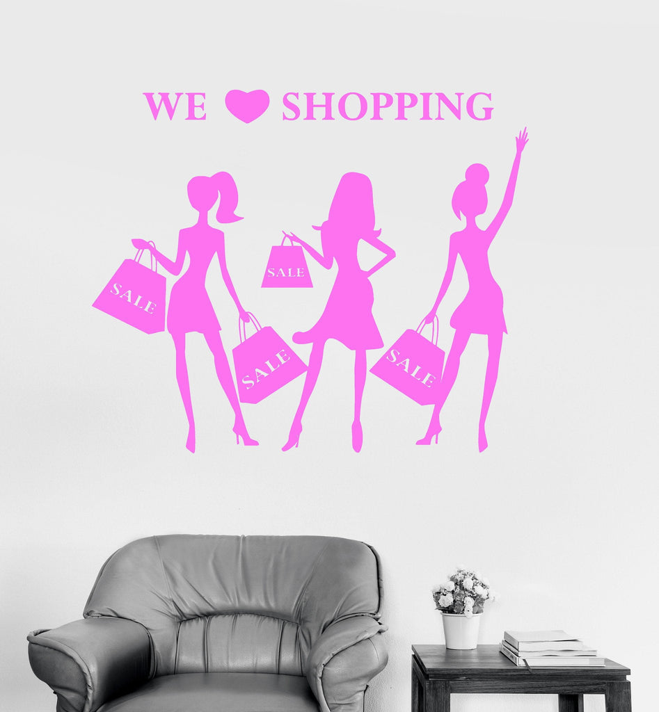 Vinyl Wall Decal Shopping Girls Fashion Style Women Shop Stickers Unique Gift (ig3145)