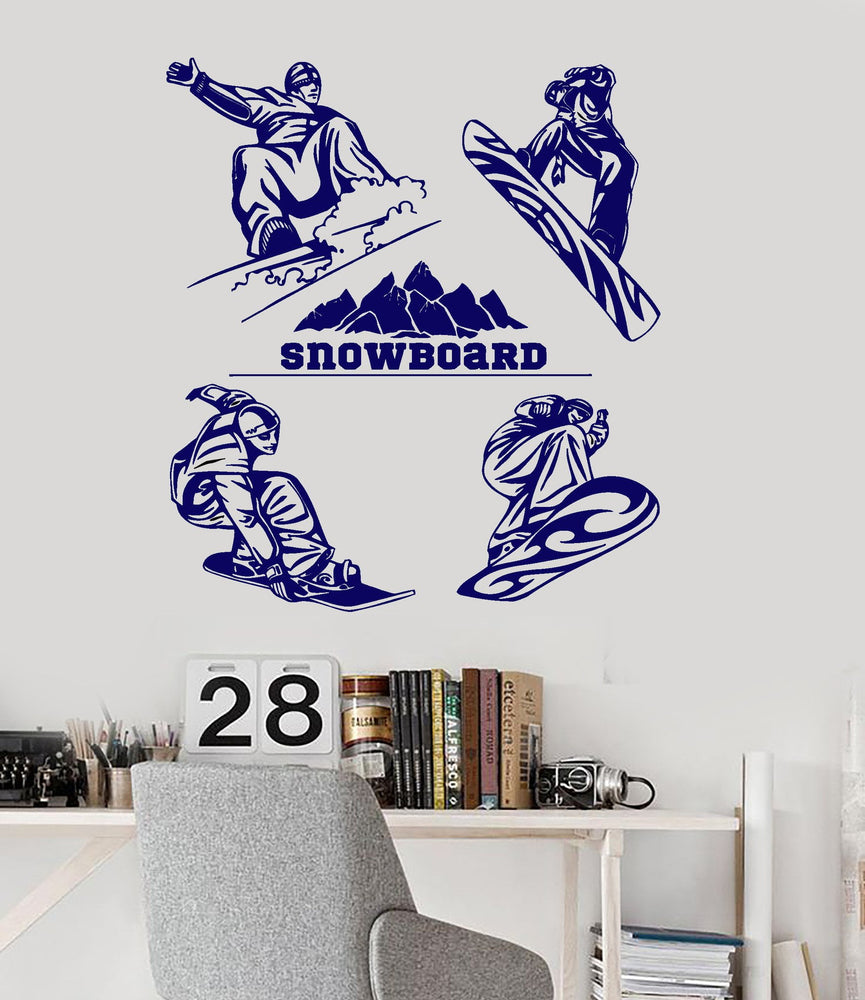Snowboarding Vinyl Wall Decal Snowboarder Winter Extreme Sports Stickers Mural #3090di