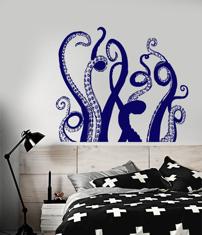 Vinyl Wall Decal Octopus Tentacles Marine Decor Bathroom Art Stickers Unique Gift (ig3104)