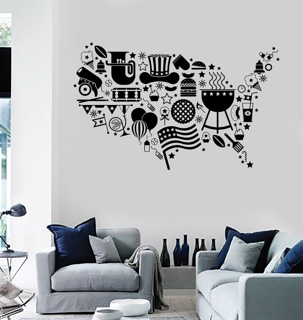 Vinyl Wall Decal USA Map Symbol Flag Holidays United States Stickers ...