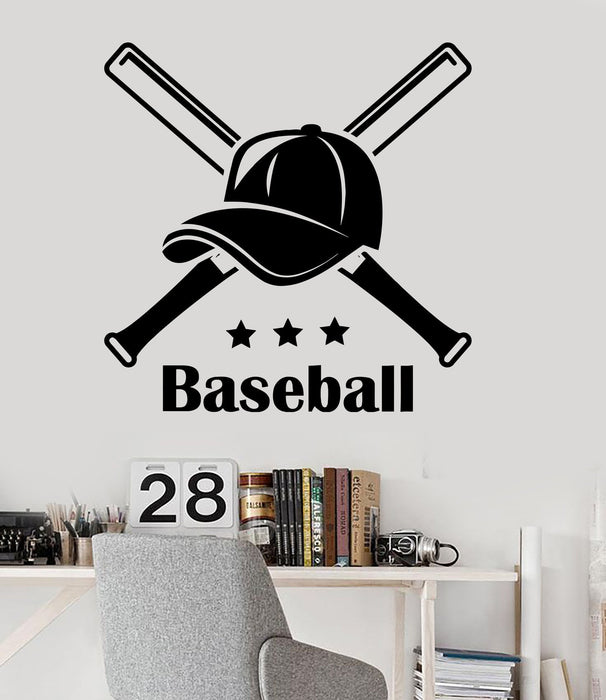 Vinyl Wall Decal Baseball Cap Sports Teen Room Decor Stickers Unique Gift (ig3499)