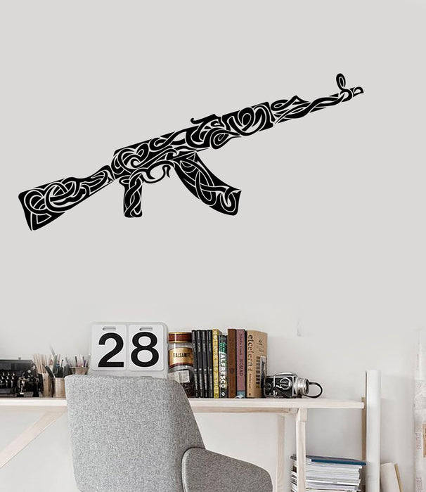 Vinyl Wall Decal Weapons War Military Ak-47 Pattern Decor Stickers Unique Gift (ig2274)
