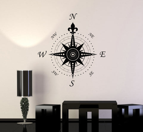 Wall Decal Compass Rose Home Decoration Geography Travel Vinyl Stickers Unique Gift (ig2906)