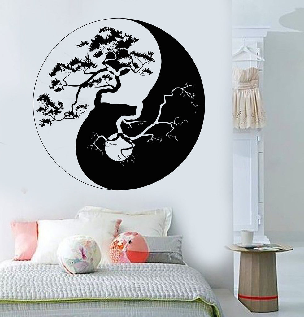 vinyl wall decal yin yang tree zen asian style stickers. Black Bedroom Furniture Sets. Home Design Ideas