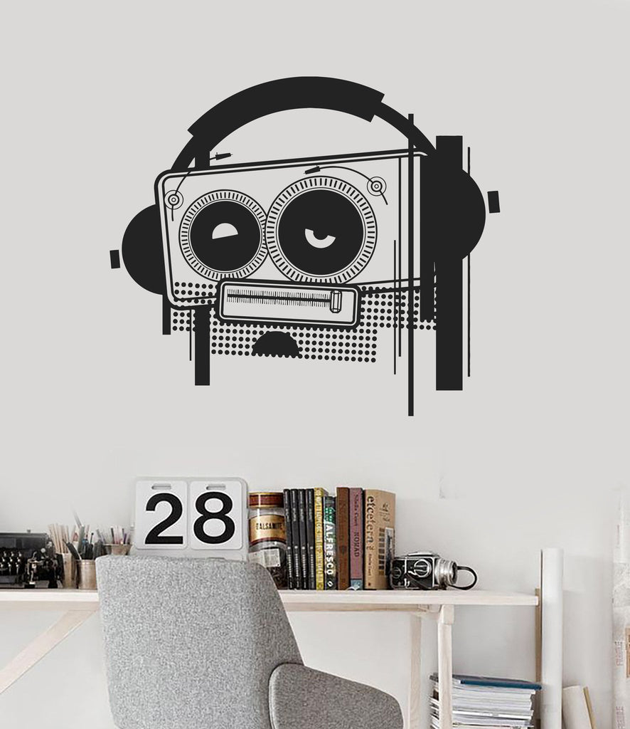 Wall Decal Tape Recorder Music Headphones Cool Room Decor Vinyl Mural Unique Gift Ig2877