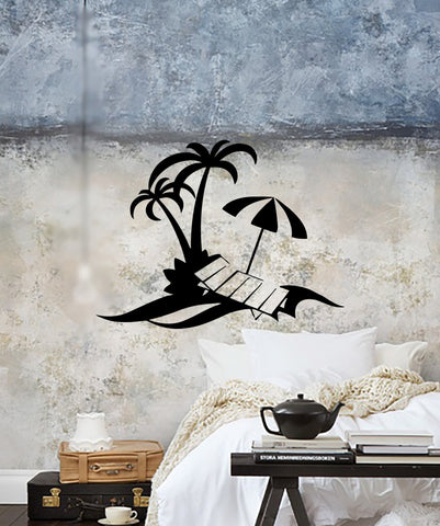 Vinyl Decal Palm Beach Vacation Travel Agency Wall Stickers Mural (ig2683)