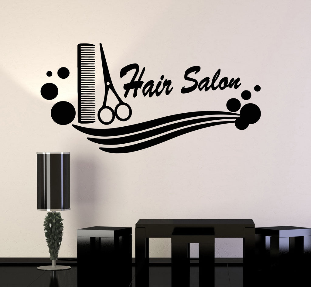 Hair salon vinyl decal comb scissors hairdresser haircut for Stickers salon