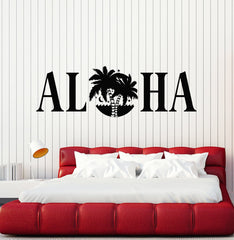 Vinyl Wall Decal Aloha Lettering Palms Surfing Beach Surfer Stickers Mural Unique Gift (ig5153)