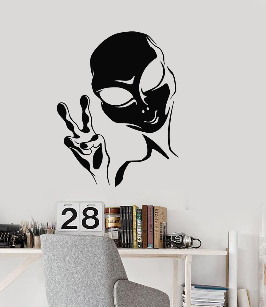 Vinyl Wall Decal Alien Peace Sign UFO Teen Room Area 51 Stickers Mural Unique Gift (ig5176)