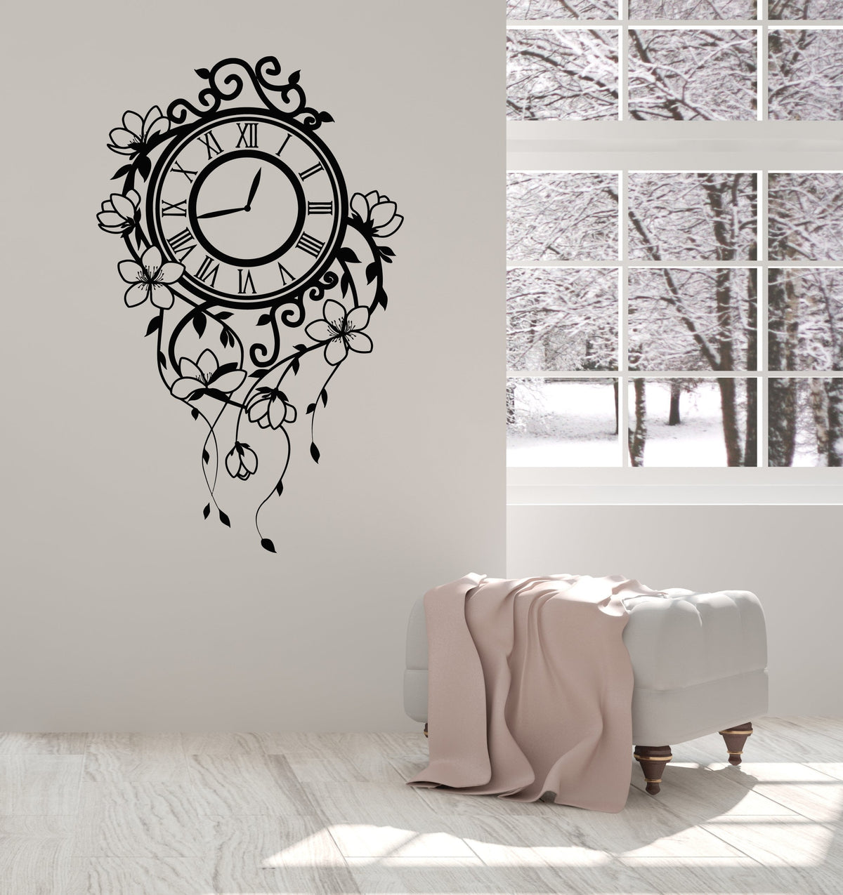 Vinyl Wall Decal Floral Clock Beautiful Home Room Decorating Art Stick Wallstickers4you