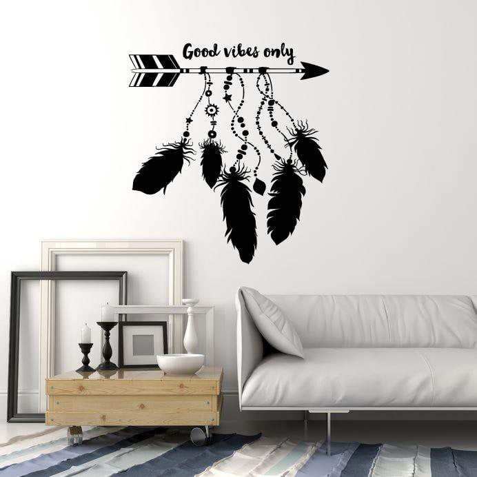 ig5457 Details about  /Vinyl Wall Decal Be Brave Arrows Feathers Ethnic Style Art Stickers