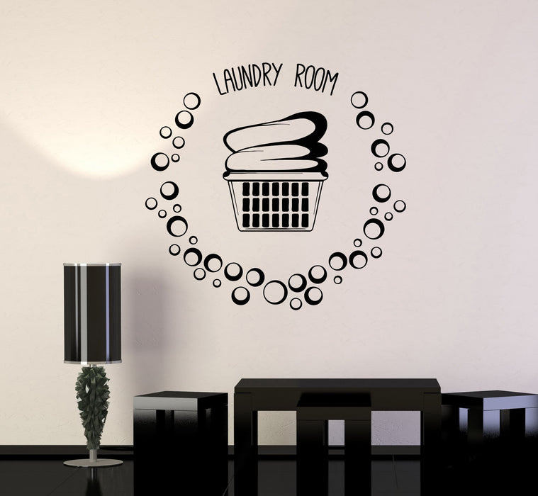 Vinyl Wall Decal Laundry Room Basket Clothes Bubbles Stickers Mural
