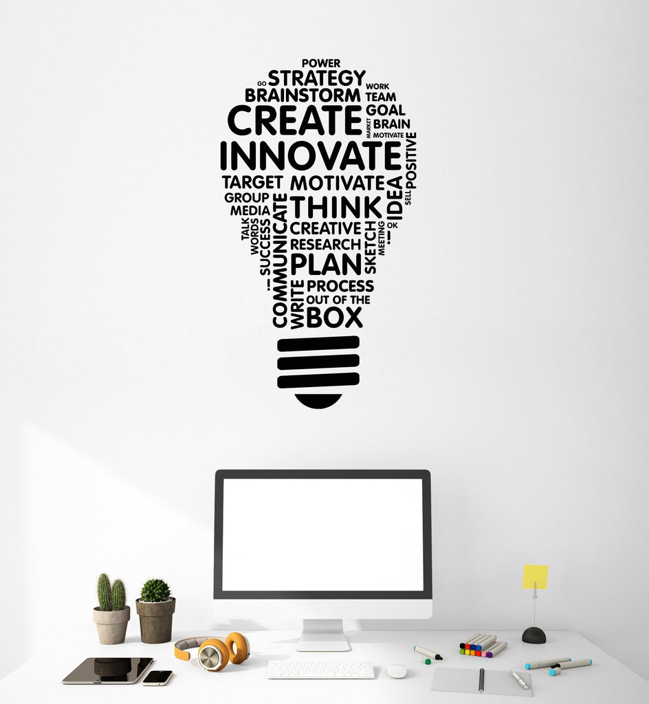 Vinyl Wall Decal Lightbulb Inspire Words Business Office Art Decor - Vinyl wall decals business