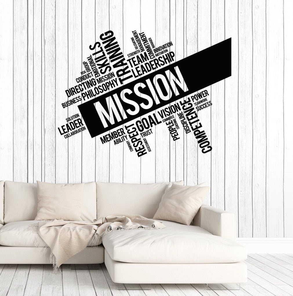 Vinyl Wall Decal Mission Company Team Leadership Office Words - Vinyl wall decals business
