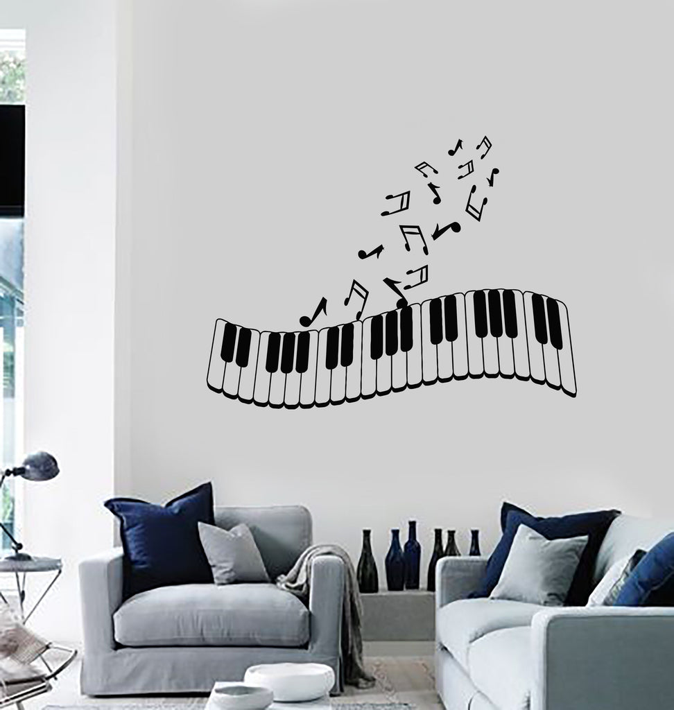 Vinyl Wall Decal Piano Musical Notes Music Art Living Room Decor ...