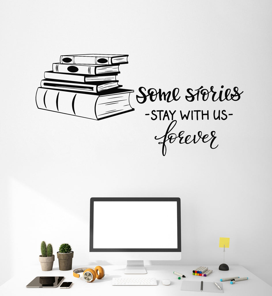 Vinyl Wall Decal Books Shop Quote Library Reading Room Decor Art - Vinyl wall decals books