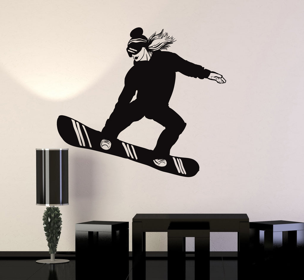 Vinyl wall decal snowboarder girl woman snowboarding extreme sport vinyl wall decal snowboarder girl woman snowboarding extreme sport stickers mural unique gift ig5053 amipublicfo Image collections