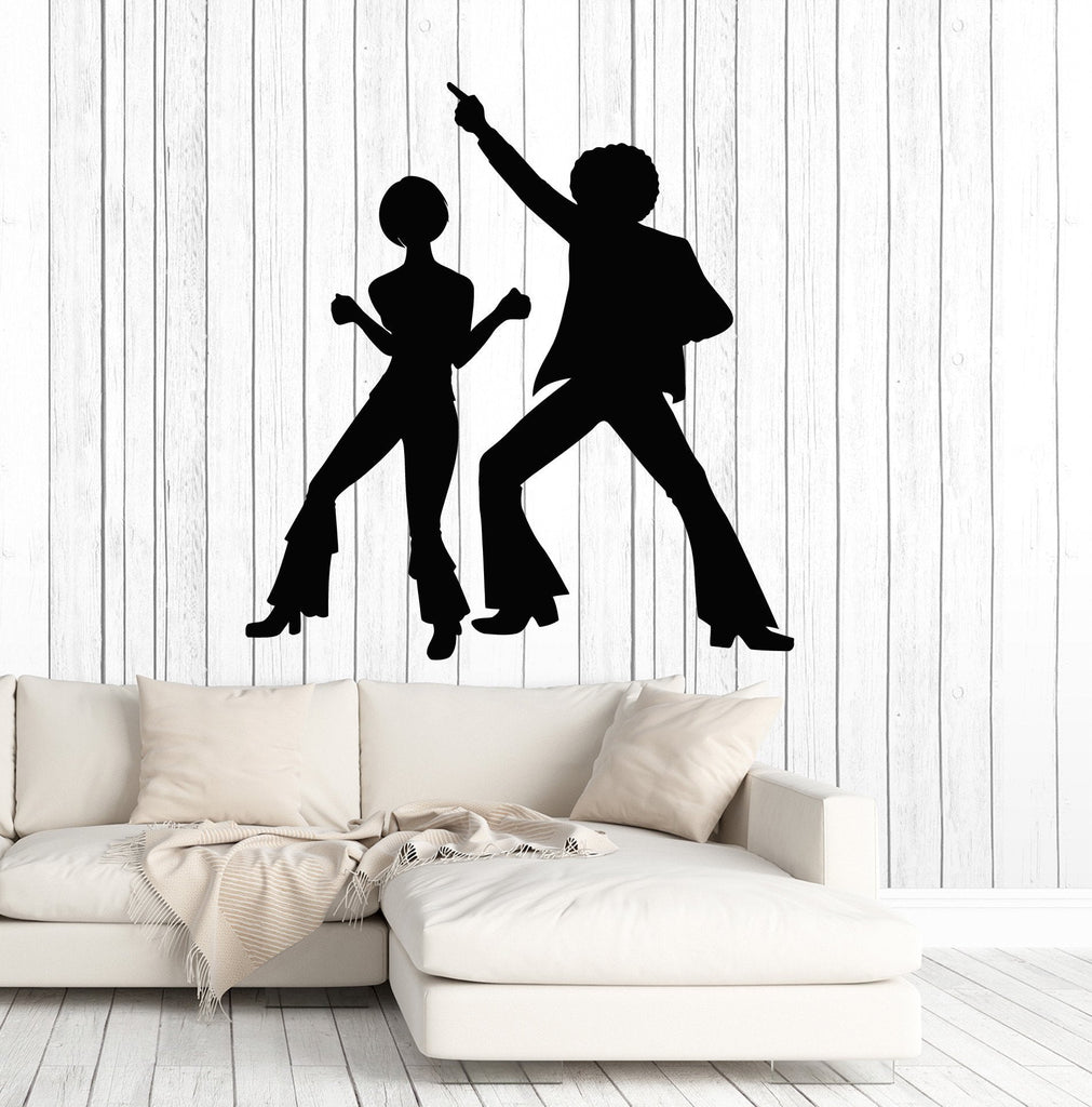Vinyl Wall Decal Silhouette Disco Dancers Dance Party Art Stickers