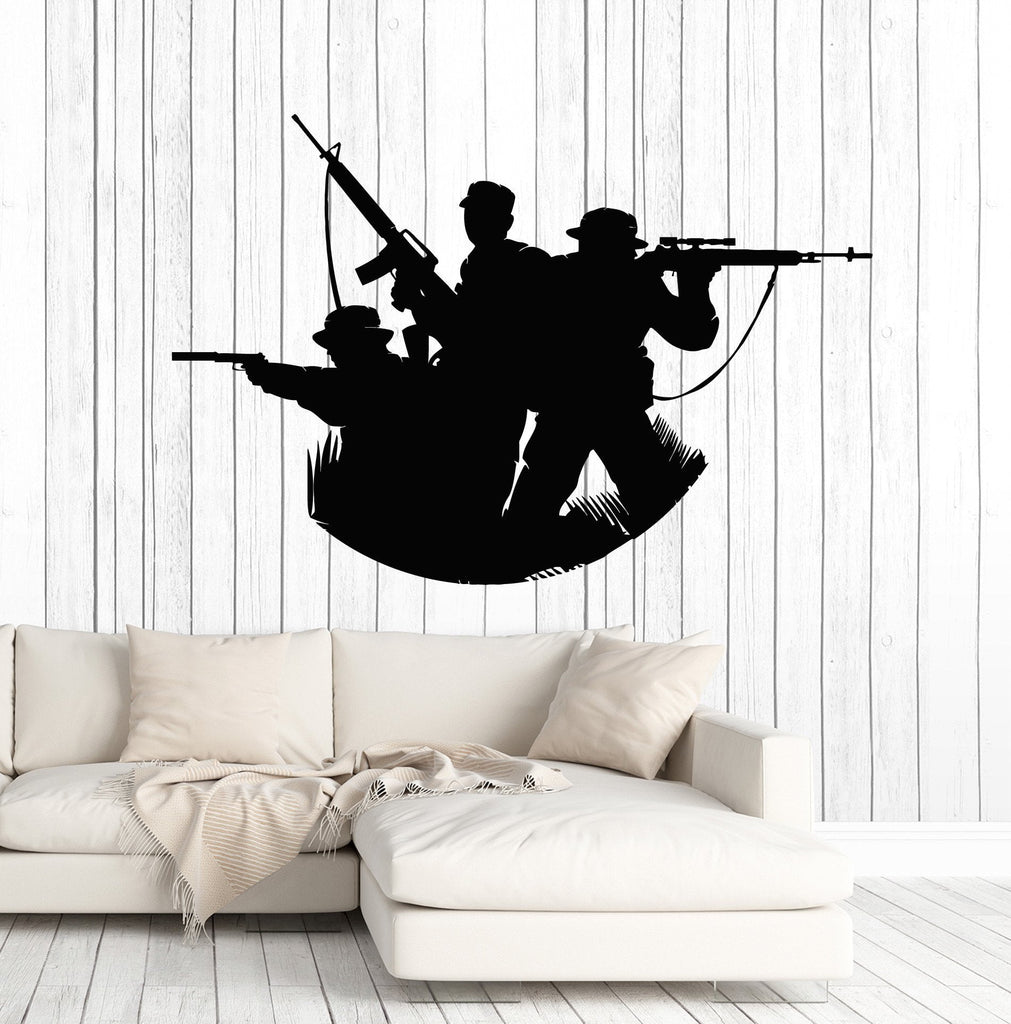 Vinyl Wall Decal Soldiers Silhouette Military Art Decorating War