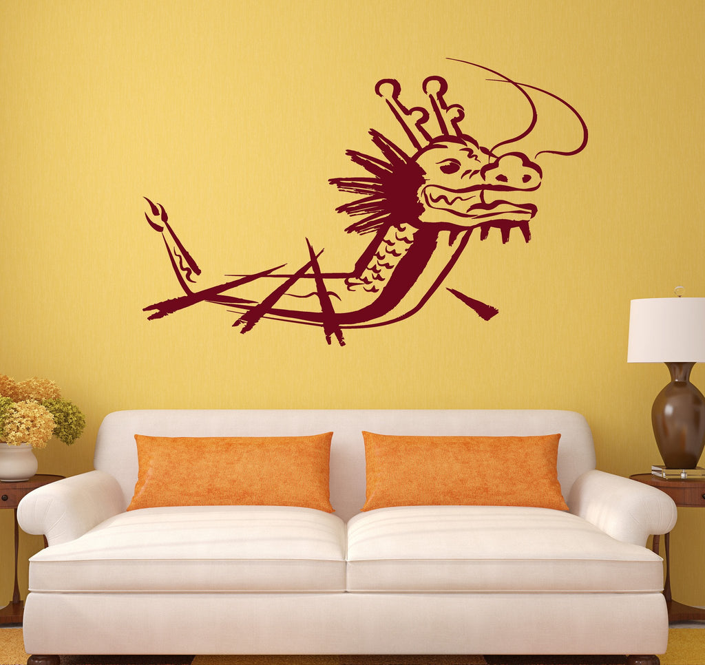 Vinyl Wall Decal Dragon Ship Oriental Asian Room Decor Stickers ...