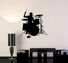 Vinyl Decal Drummer Drums Music Musician Musical Decor Wall Sticker Mural Unique Gift (ig2749)