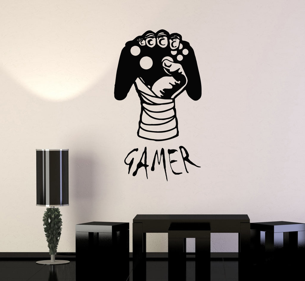 Vinyl decal gamer hand video game gaming decor boys room for Stickers salon design