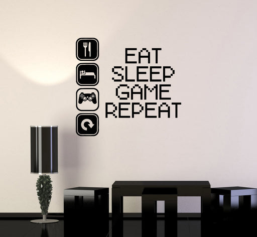 Eat GAME Sleep Quote Gaming Wall Art Sticker Boys Bedroom Video Games Decals