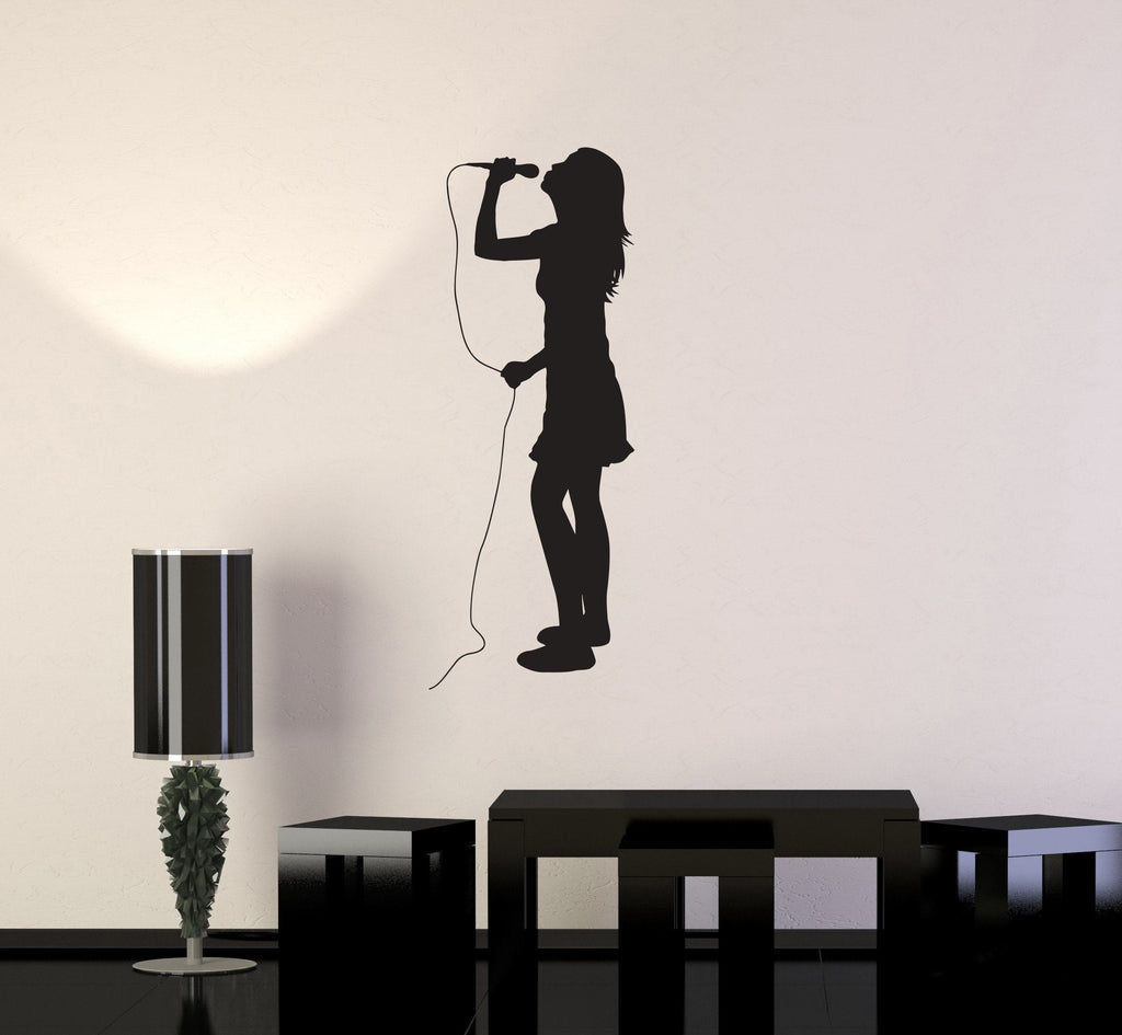Vinyl Decal Singer Silhouette Girl Karaoke Musical Decor Wall Stickers Unique Gift (ig2763)