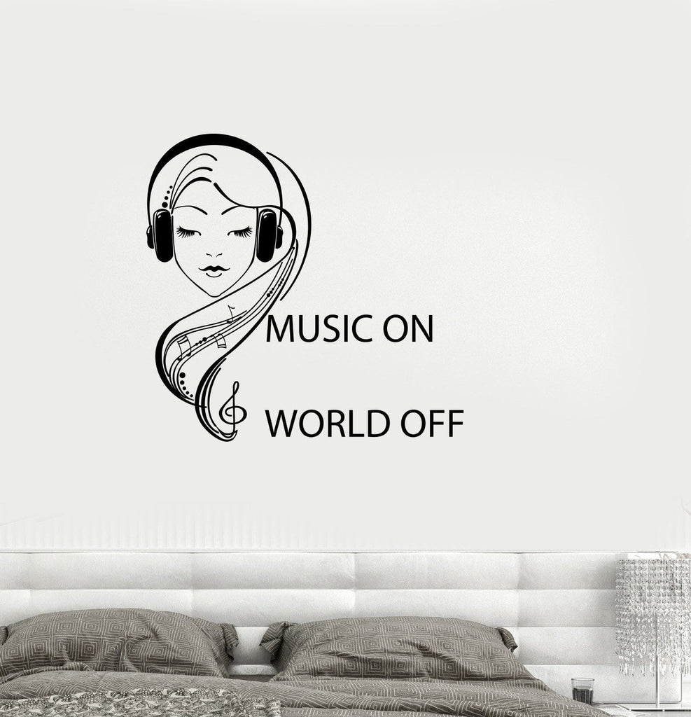 Vinyl Decal Quote Teen Girl Room Music Headphones Musical Wall Sticker  Mural Unique Gift (ig2746