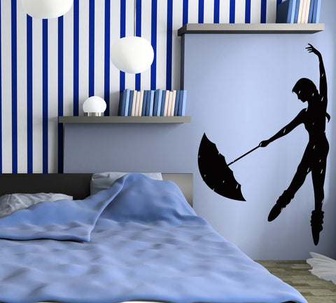 Decal Vinyl Wall Stickers Rain Dance Umbrella Girl Romantic Bedroom  z1094