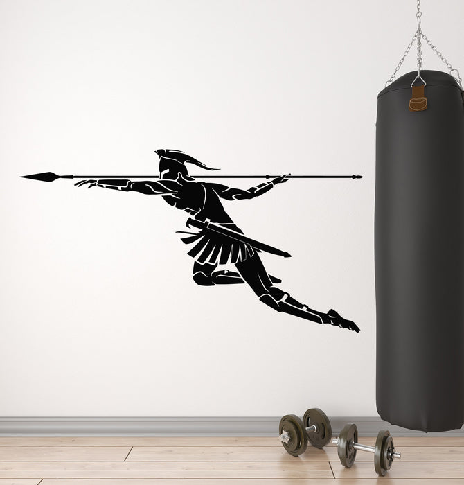 Vinyl Wall Decal Spartan Warrior With Spear Fighter Man Decor Stickers Mural (g1077)