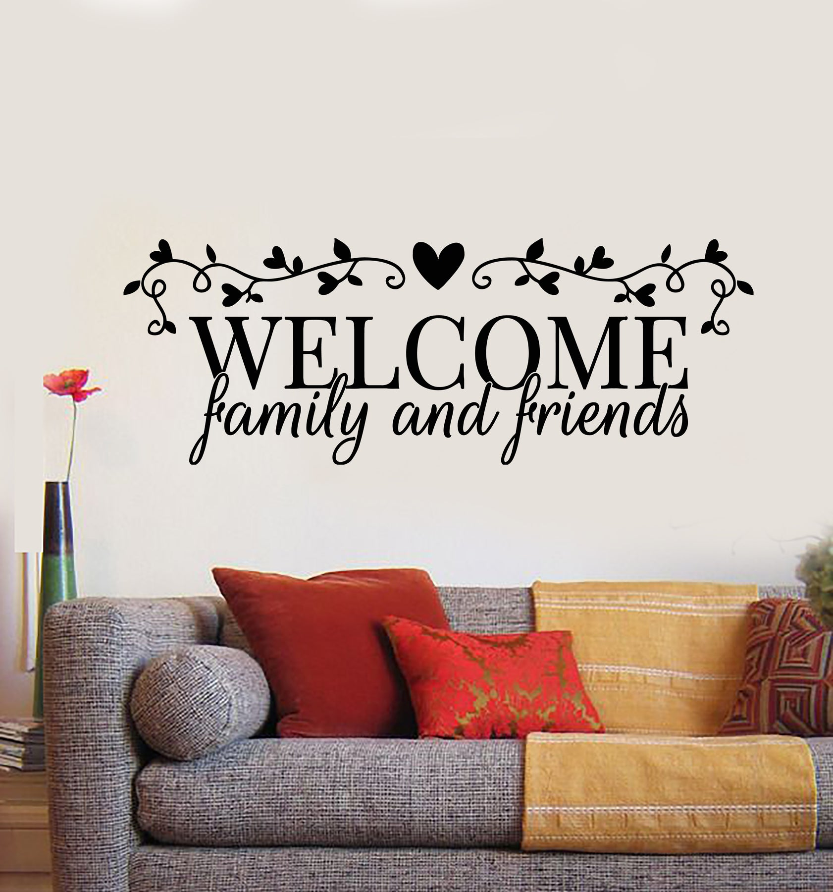 Vinyl Wall Decal Welcome Family And Friends Quote Words House Decor St Wallstickers4you