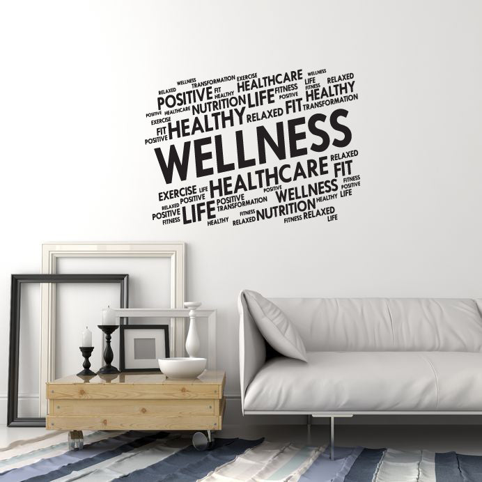 vinyl wall decal wellness home gym words cloud spa fitness center