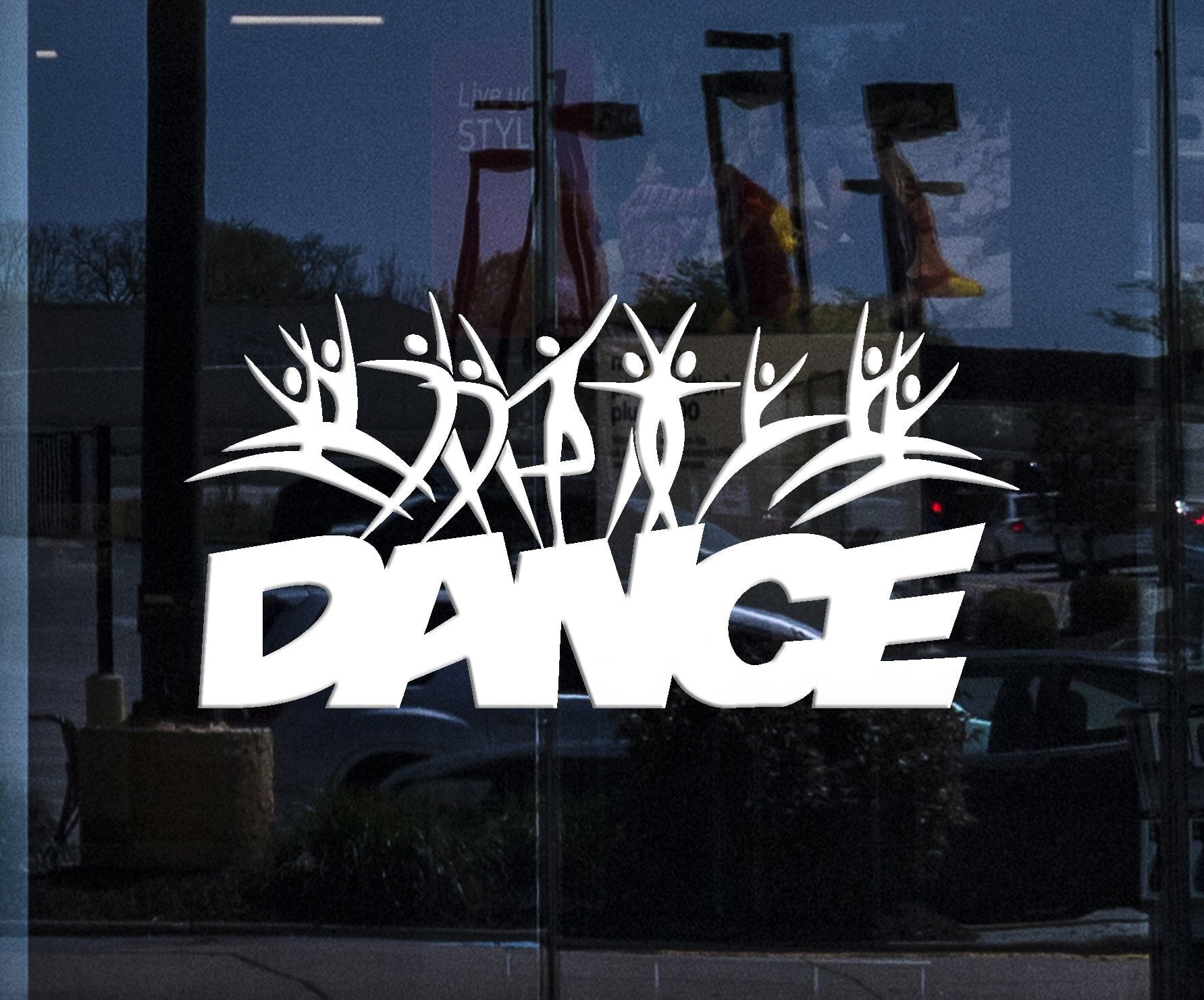 Window Sign Vinyl Wall Decal Dance School Studio Logo Cartoons People Dancers Stickers Unique Gift (2018igw)