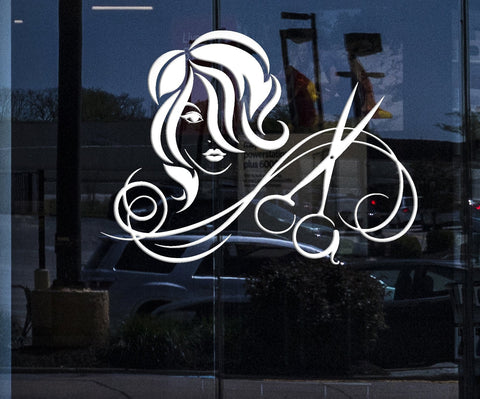 Window sign for business vinyl wall decal hairdressing salon haircut scissors hairstyle stickers 2231igw