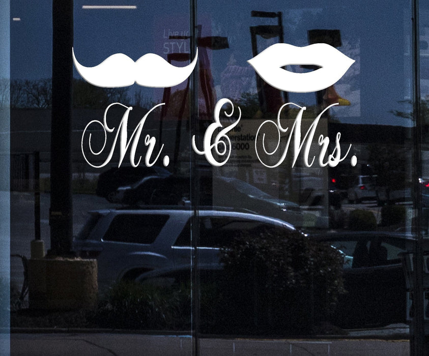 Window Vinyl Wall Decal Mr. and Mrs Mustache Lips Bedroom Decor Stickers (2212igw)