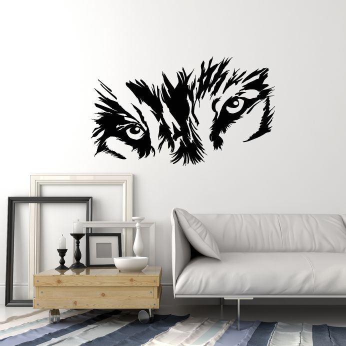 Vinyl Wall Decal Abstract Wolf Eyes Forest Wild Animal Tribal Stickers Mural (g1586)