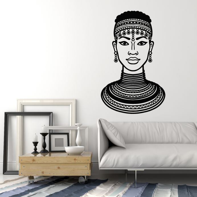 Vinyl Wall Decal African Beauty Woman Black Lady Afro Style Stickers Mural (g1108)