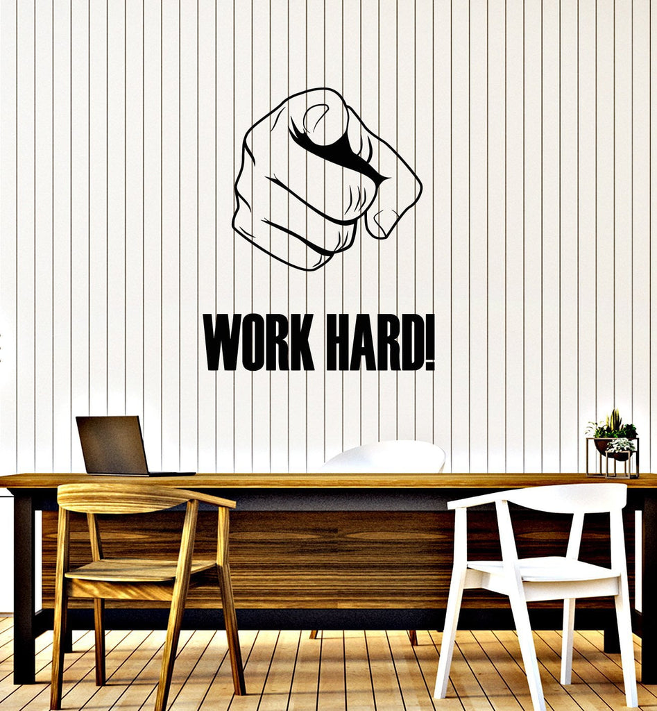 Work Hard Vinyl Wall Decal Hand Motivational Phrase Office Space ...